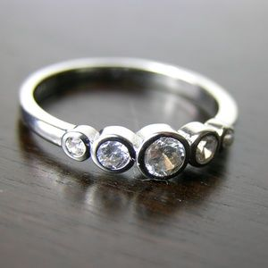 Only 2 LEFT! 5 Stone Silver and Zircon Dainty Ring